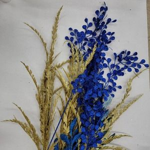 Blue Gold Faux Floral Garland Stems Reed Sparkle